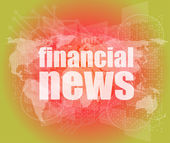 Financial news words on digital touch screen — ストック写真