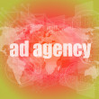 Pixeled word Ad agency on digital screen 3d render — Stock Photo #58760625