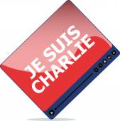 Je Suis Charlie text on media player, movement against terrorism — Stock Photo