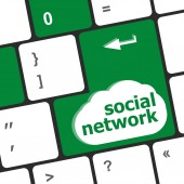 Social network keyboard key button — Stock Photo
