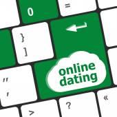 Een toetsenbord met een online dating knoop - sociale concept — Stockfoto