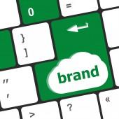 Wording brand on computer keyboard keys — Stock Photo