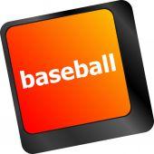 Baseball word on keyboard key, notebook computer — Stock Photo