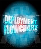 Deployment flowchart on business digital touch screen — Stock Photo