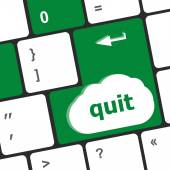 Quit button on black internet computer keyboard — Stock Photo