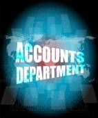 Accounts departments words on digital screen background with world map — Stock Photo