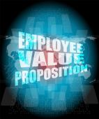 Management concept: employee value proposition words on digital screen — Stock Photo