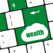 Cloud icon with wealth word on computer keyboard key — Stock Photo #66352253