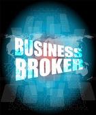 Obchodní zprostředkovatel slov na digitální dotyková obrazovka — Stock fotografie