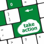 Take action key on a computer keyboard, business concept — Stock Photo