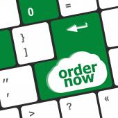 Order now computer key showing online purchases and shopping — Stock Photo