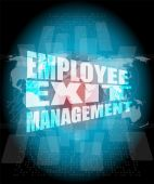 Management concept: employee exit management words on digital screen — Stock Photo