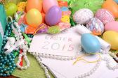 Ajuste de Pascua con la decoración de la regalo caja y resorte — Foto de Stock