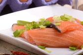 Fetta di salmone pesce rosso — Foto Stock