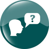 Question mark sign icon with people head. Help symbol. FAQ sign — Stok Vektör