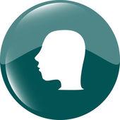 Idea head icon button — Stock Vector