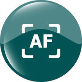 Autofocus photo camera sign icon. AF Settings symbol — Stock Vector