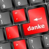 A thank you (danke) message on enter key of keyboard vector — Cтоковый вектор