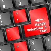 Happy valentine s day button on the keyboard - holiday concept vector — Stock Vector