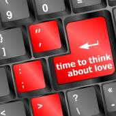 Keyboard key with time to think about love text vector — Stock vektor