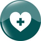 Heart sign icon. Add lover symbol. Plus love. Round buttons vector — Vetor de Stock