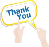 Hands holding abstract cloud with thank you word vector — 图库矢量图片
