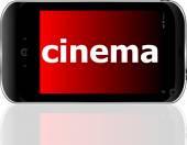 Concepto de desarrollo web: smartphone con el cine de la palabra en pantalla vector — Vector de stock