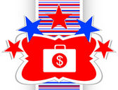 Us dollar glossy icon on white background vector — 图库矢量图片