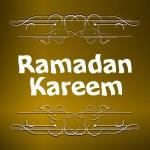 Ramadan Kareem gold lettering star new moon, mockup Islamic greeting card — Stock Photo #77333310