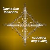 Ramadan Kareem gold lettering star new moon, mockup Islamic greeting card — Stock Photo