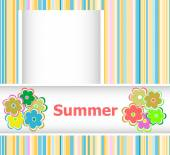 Summer theme with floral over bright multicolored background, summer flowers, holiday card — Stock Photo