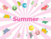 Summer theme with floral over bright multicolored background — Stock Photo