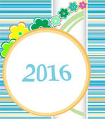 2016 Christmas card framed with flowers set. holiday ornaments — Stock Photo