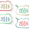 Happy new year 2016 creative greeting card design, Year 2016 stickers set design element isolated on white — Stock Photo #80929166