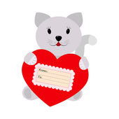 Cat holding a heart on a white background — Stock Vector