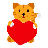 Tiger holding a heart on a white background — Stock Vector