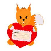 Σκίουρος κρατώντας μια καρδιά σε λευκό φόντο — Διανυσματικό Αρχείο