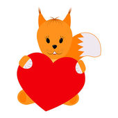 Squirrel holding a heart on a white background — Stock Vector