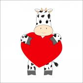 Cow holding a heart on a white background — Stock Vector