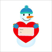 Snowmen  holding a heart on a white background — Stock Vector