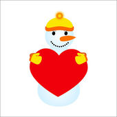 Snowmen  holding a heart on a white background — Vettoriale Stock
