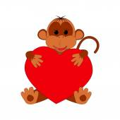 Funny monkey holding a heart on a white background — Stock Vector