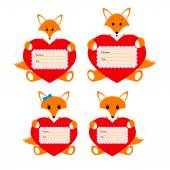 Family foxes with hearts on a white background — Stock Vector