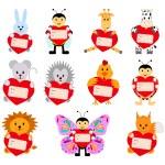 Zbiór śmieszne zwierzęta z serca do projektowania. Mogą być używane w projekt kartki na Walentynki — Wektor stockowy  #63957513
