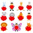 Set of funny animals with hearts for your disign. Can be used in the design of greeting cards for Valentines Day — Stock Vector #63957515