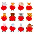 Set of funny animals with hearts for your disign. Can be used in the design of greeting cards for Valentines Day — Stock Vector #63957577
