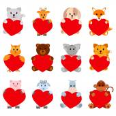 Set of funny animals with hearts for your disign. Can be used in the design of greeting cards for Valentines Day — Stock Vector