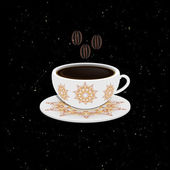 Cup of coffee with ornate eastern round elements — Stockvektor