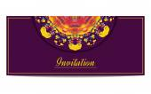 Invitation orr greeteng card with half circle ethnic ornament on purple background — Stock Vector