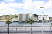 Storage building on a pier in the port — Stock Photo